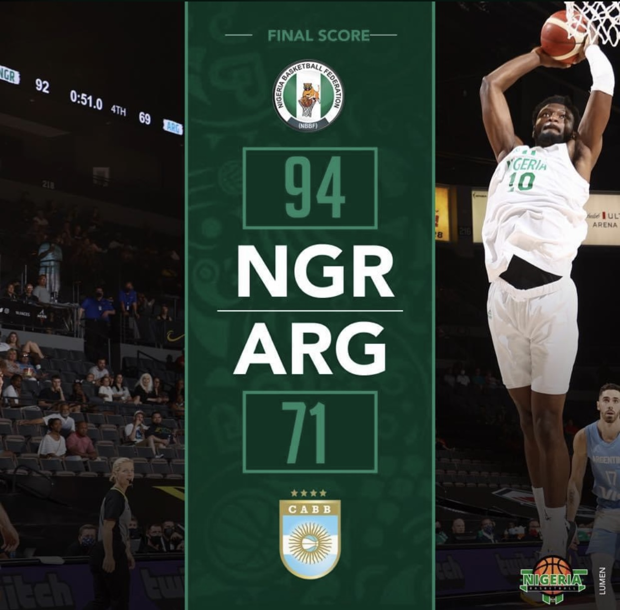 After Defeating The U.S Team, Nigeria's D'Tigers Best Argentina In Olympic Basketball Tuneup